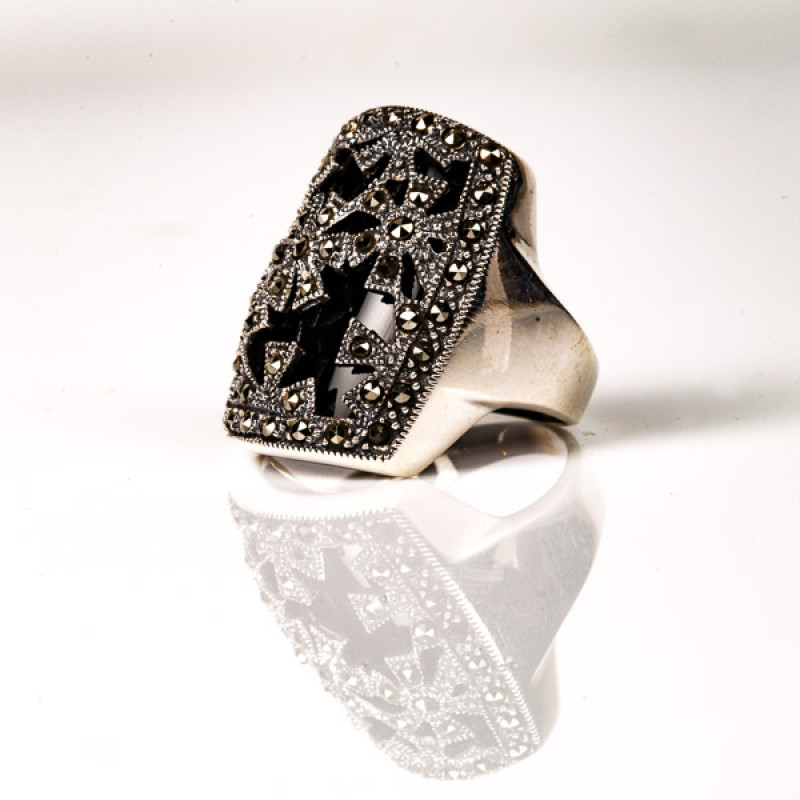 Victoria Marcasite and Onyx Flower Ring