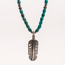 Feather and Silver Bead Necklace