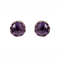 Flower Faceted Amethyst Stud