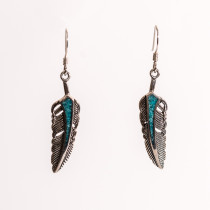 Cheyenne Silver Feather Drop Earring with Turquoise