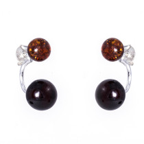 Small Versatile Double Colour Amber Bell Bar Earrings