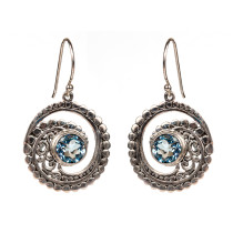 Blue Topaz Wave Earring