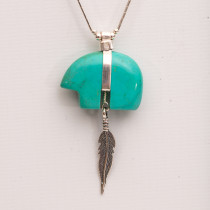 Cheyenne Silver and Turquoise Bear Necklace