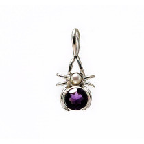 Amethyst and pearl spider pendant