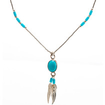 Cheyenne turquoise and feather pendant necklace